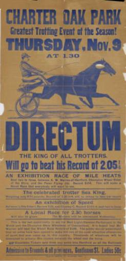 Directum. Letterpress broadside advertising a race at Charter Oak Park