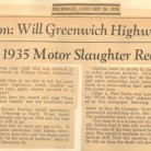 Newspaper article:Will Greenwich Highways Beat Their 1935 Motor Slaughter Record? - Greenwich Historical Society