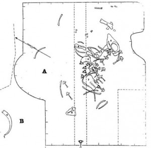 Diagram of the Farmington swamp showing the mastodon bones