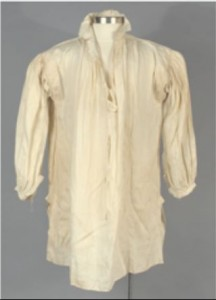 Linen Shirt, about 1781. A puncture hole on Ledyard's linen shirt matches that in the vest