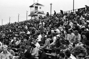 The Speedbowl grandstands in 1985