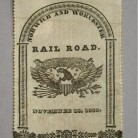 Souvenir ribbon distributed by the Norwich & Worcester Railroad Company