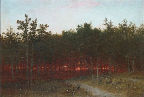John Frederick Kensett, Twilight in the Cedars at Darien, Connecticut