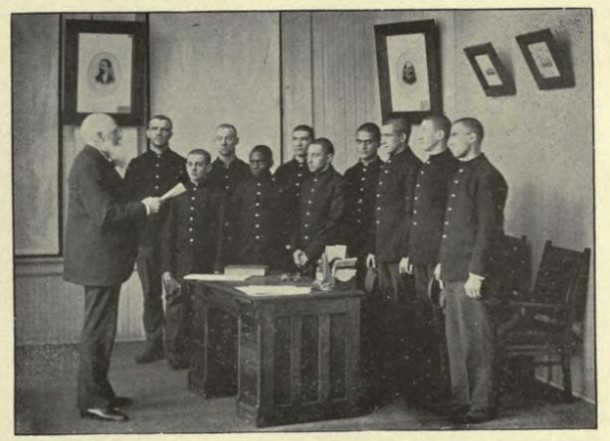 The General Superintendent, Z. R. Brockway, interviewing new arrivals