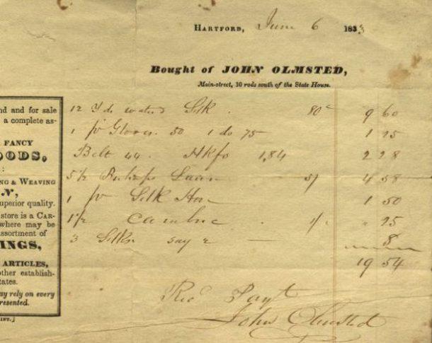 Billhead and bill from John Olmsted.