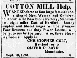 Advertisement from The Times and Hartford Advertiser, September, 1826, Hartford
