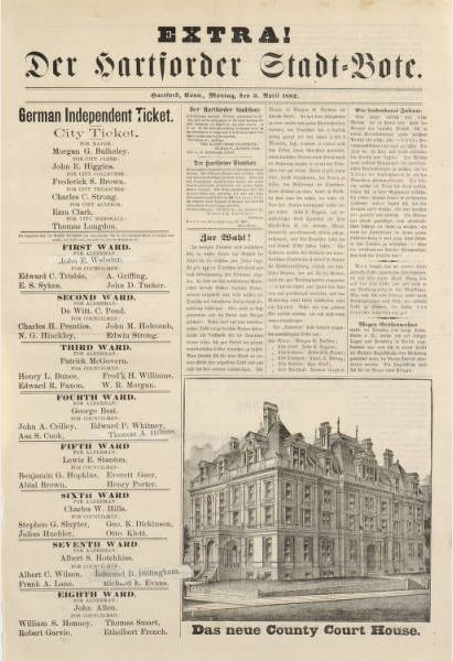 Broadside listing all the names running on the German Independent Ticket