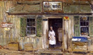 News Depot, Cos Cob by Childe Hassam