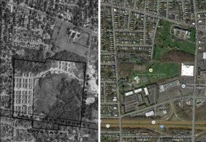 Comparison of the location of Oakwood Acres Housing Tract in 1951 vs 2013