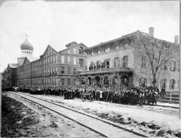 Colt workers in front of the Armory, 1876