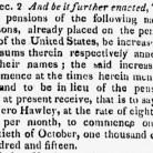 Detail from An Act Concerning Invalid Pensioners approved April 30, 1816 by James Madison and printed in the Connecticut Journal, June 4, 1816
