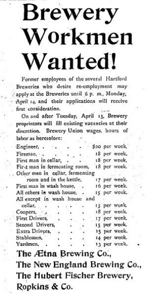 Advertisement for Brewery Workman in the Hartford Courant, April 14, 1902