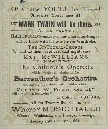 Broadside announcing performances by Mark Twain and Allen Francis, January 1881 - Connecticut Historical Society and Connecticut History Online