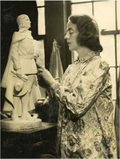 Interior of Frances Wadsworth's studio. Photograph, 1940s. Frances made meticulously detailed models of her sculptures before creating the final sculpture - Connecticut Historical Society