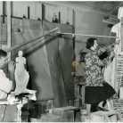 Frances Wadsworth in her Studio. Photograph, 1950s. Frances Wadsworth is shown working on her statue commemorating Thomas Gallaudet - Connecticut Historical Society