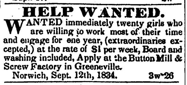 Advertisement from the Norwich Courier, September, 1834, Norwich