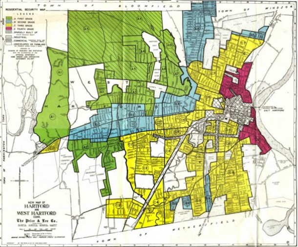 HOLC Residential Security Map of Hartford Area 1937
