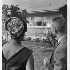 African American woman looking at home to purchase, Hartford