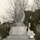 Dedication of the Gallaudet statue. Photograph, April 18, 1953. The statue features Alice Cogswell, Gallaudet's first pupil - Connecticut Historical Society