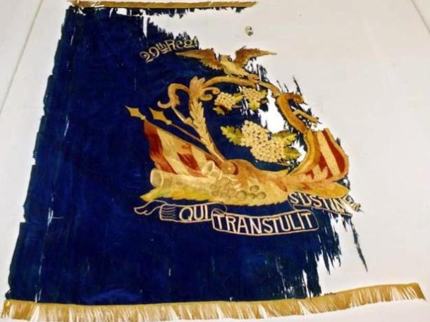 "This 29th (Colored) Regiment CVI state ""regimental"" flag was presented to the unit March 19, 1864, in Fair Haven, CT - Courtesy of the Connecticut Office of Legislative Management, from the book Qui Transtulit Sustinet by Geraldine Caughman"