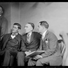 Photograph of Gerald Chapman sitting (in the center) before he was put to death for killing New Britain police officer James Skelly, ca. 1925 - Boston Public Library, © Leslie Jones Collection