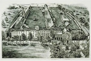 Bird's-eye view of Wethersfield Prison, Wethersfield, ca. 1880 - Connecticut Historical Society and Connecticut History Online