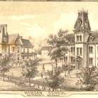 Detail of the Morgan School and Principal's Residence from the map View of Clinton, Connecticut 1881 by O.H. Bailey & Company - University of Connecticut Libraries, Map and Geographic Information Center