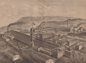 Manufactory of Meriden Britannia Company, West Meriden, Conn. Wood engraving by Asher & Adams, ca. 1876. This birds-eye view shows the factory as rebuilt - Connecticut Historical Society