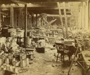 Ruins of a Portion of the Meriden Britannia Works. Photograph by Prescott & White, 1870. This view of one of the damaged floors shows a workbench still in place - Connecticut Historical Society