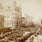 Pictured is a scene from Main Street in Hartford during the historic Battle Flag Parade on September 17, 1879 - Connecticut Historical Society and Connecticut History Online