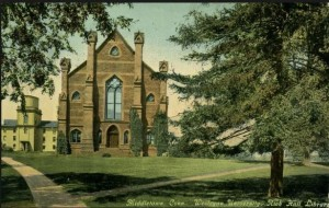 Postcard of the Rich Hall Library, Wesleyan University, Middletown