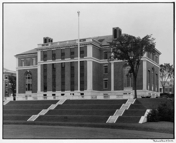 View of original back of Olin Library, September, 1934 - Wesleyan University Library, Special Collections & Archives