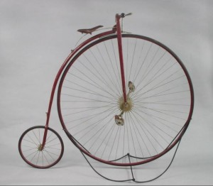 Bicycle made by the Pope Manufacturing Company, about 1881. Pope produced its first bicycles like this Columbia high wheeler in the late 1870s - Gift of Aetna, Connecticut Historical Society