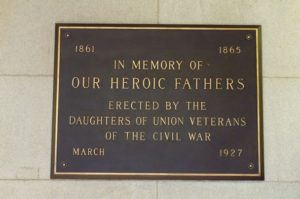 "Bronze Tablet dedicated by the Daughters of Union Veterans. Although it was cast with the date ""March 1927"" it was not formally unveiled and dedicated until April 9, 1927 - Courtesy of Stacey Britner"