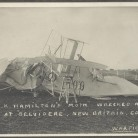 "C.K. Hamilton's ""Moth"" wrecked, April 22 at ""Belvidere"", New Britain, Conn - New Britain Industrial Museum"
