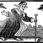 An English woodcut from the cover of A Most Certain, Strange, and True Discovery of a Witch, etc  printed by John Hammond, 1643
