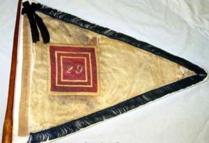 One of the two 29th (Colored) Regiment CVI guidon flags used as markers on the left and right flank of the regiment during battle. It is unknown when the unit received these flags - Courtesy of the Connecticut Office of Legislative Management, from the book Qui Transtulit Sustinet by Geraldine Caughman