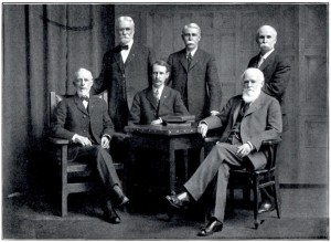 A photo of the Commission appointed to erect a statue honoring Connecticut soldiers who died at Andersonville Prison. Standing from left to right: George E. Denison, Norman L. Hope, George Q. Whitney. Seated from left to right: Theron Upson, Frederick W. Wakefield, Frank W. Cheney. From the book, Dedication of the Monument at Andersonville, Georgia