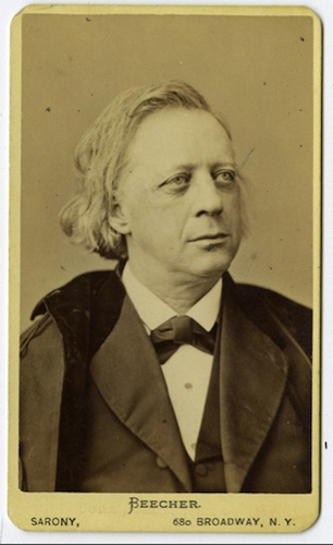 Henry Ward Beecher. Photograph by Napoleon Sarony, ca. 1870s - Connecticut Historical Society