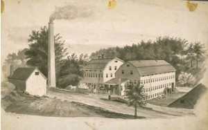 E. Sturdevant wool hat factory, Beaver Brook (Danbury), CT, drawing ca. 1858 - Connecticut Historical Society and Connecticut History Online