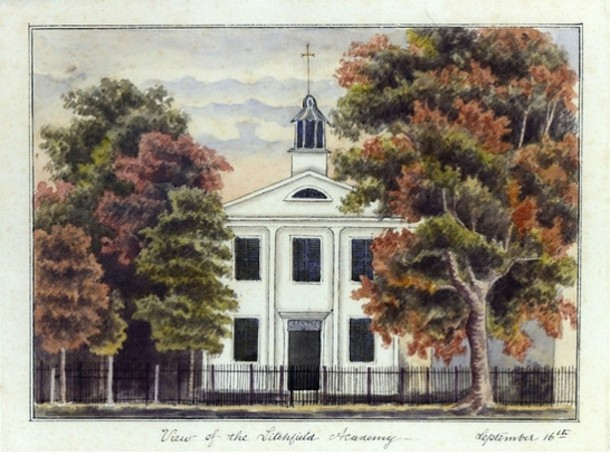 A copy of J. Napoleon Gimbrede's ca. 1830 watercolor of The Litchfield Female Academy by Emily Hart, ca. 1856 - The Litchfield Historical Society