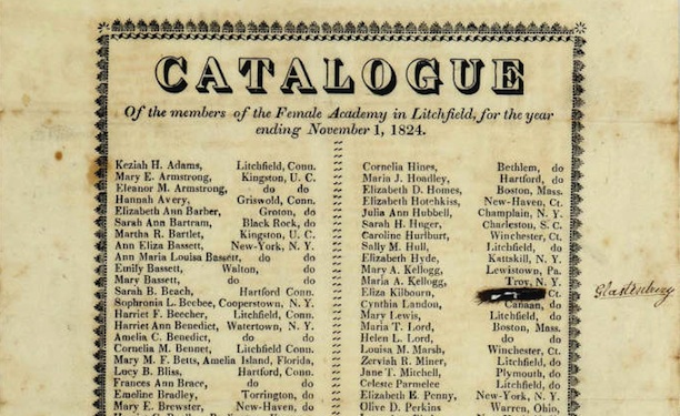 Detail of the catalogue of the members of the Female Academy of Litchfield, for the year ending November 1, 1824 - Connecticut Historical Society and Connecticut History Online
