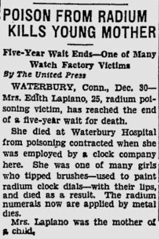 An article from the Pittsburgh Press, December 30, 1931, describing the death of Edith Lapiano, 25, a victim of radium poisoning.