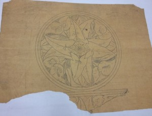 Richard Upjohn's hand-drawn design of a flower to be stenciled on the Capitol - Connecticut State Library, Capitol Plans Collection