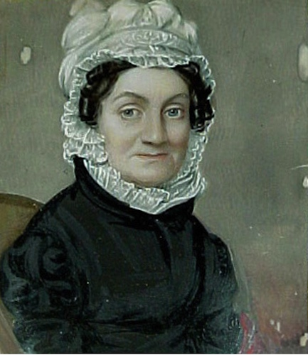 George Catlin, Sarah Pierce, portrait miniature, watercolor, ca. 1825 - Litchfield Historical Society