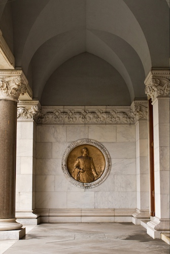 Hawley Medallion, north porch of the state capitol - Courtesy of Stacey Britner