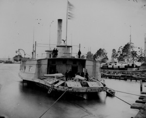 The USS Commodore Perry, a former ferry, was one of the countless civilian ships bought by the Navy and converted for use in the war - National Archives