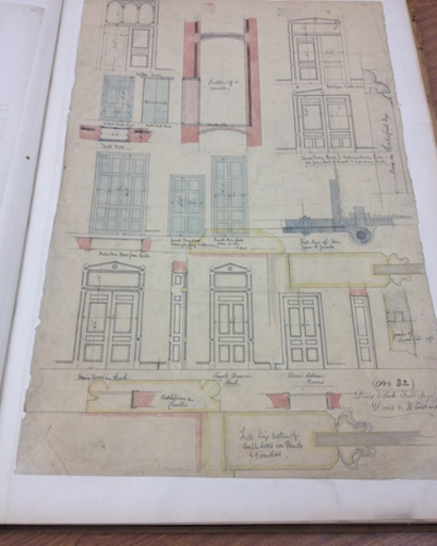 Richard Upjohn's hand-drawn designs of various doors and their frames - Connecticut State Library, Capitol Plans Collection
