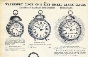 Detail of an advertisement for Waterbury Clock Co.'s Luminous-Sunrise, a part of the Nickel Alarm Clock line.