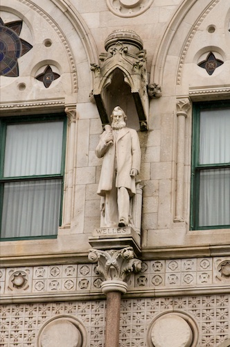A marble statue of Gideon Welles was placed on the Connecticut State Capitol building's facade ca. 1933 to commemorate his achievements both within the state and as Secretary of the Navy - Courtesy of Stacey Renee